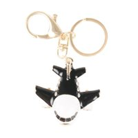 airplane key chain - New Black Plane Airplane Aircraft Charm Pendant Crystal Purse Bag Key Chain Auto Accessories Creative Gift