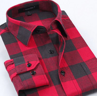 Wholesale 2016 New Mens Casual Plaid Shirts Long Sleeve Slim Fit Comfort Soft Flannel Cotton Turn down Collar Shirt Leisure Styles