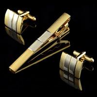 Wholesale Men Metal Necktie Tie Bar Clasp Clip Cufflinks Sets Gold Simple Party Gift C00114 FSH