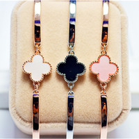 Wholesale 2 Colours Clover Bangle For Women K Real Gold Plated Bracelets Bangles Brand Fine Jewelry