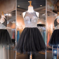 Wholesale Black Ball Gown th Grade Prom Dresses Organza Full Beaded Graduation Dress For High School Short Homecoming Gowns