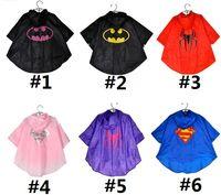 Wholesale 100 CM cartoon children polyester cloth raincoat new Superman Spider Man Batman girl boy cape poncho baby clothes Rainwear E256