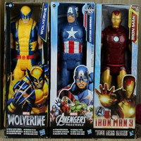 american model doll - 12 quot cm Super Heros The Avengers Iron Man Captain American Wolverine PVC Toy Action Figure Model Doll With Box