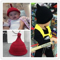 baby skull shape - baby boy girl winter hat kids knit beanies nipple shape pointed warm bonnet children knitted cap sharp top hats