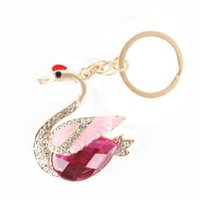 beautiful purses - Beautiful Goose Swan Duck Crown Pendent Charm Chain Rhinestone Crystal Purse Bag Key Ring Creative Gift