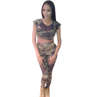 army green pants outfit - 2016 New Women Pieces Suit Fashion Camouflage Printed Short Sleeves Mesh Panel Crop Tops Pants Two piece Set Army Bodycon Outfit