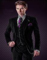 beige pants match - Black Velvet Tuxedo With Satin Trims And Matched Vest Custom Made Groom Tuxedos Groomsman Suit wedding suit Jacket Pants Vest