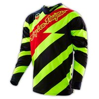 Wholesale Troy Lee Designs TLD SE Caution Flo MX Motocross Jersey Mens Yellow Black MTB Mountain Bike T shirt Downhill