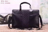 acrylic bag handles - Stitching leather man bag fashion woven handbag business men cross section briefcase style computer knitting