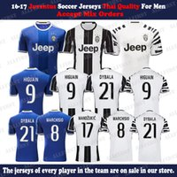 Wholesale 16 Men Juventus Soccer Jersey Thailand Quality DYBALA HIGUAIN BUFFON MARCHISIO KHEDILA PJACA Custom Home Away Uniforms