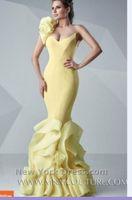 venda por atacado flores naturais-2016 amarelo de um ombro Prom Vestidos Flores Ruffles Saia elegante longo sereia Vestidos de noite Backless Mãe dos vestidos de noiva