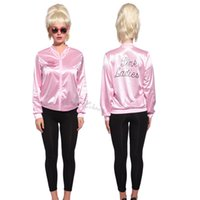 Wholesale Halloween Retro s Classic Movie Satin Pink Ladies Jacket Costume Party Fancy Dress Grease Costume Cheerleade