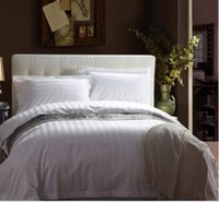 Wholesale All hotel linen pure white satin stripe quilt double dormitory encryption quilt piece