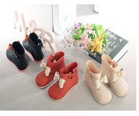 Wholesale Mini Melissa children girls rainshoes cute Bow non slip soft bottom kids shoes princess Rain boots DHL C1204