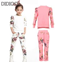 Wholesale Girls autumn sets baby outfits kids clothes long sleeve floral print pullover top amp sprot pants children clothing set size