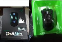 Wholesale Razer DeathAdder OEM Version Upgraded Gaming mouse dpi Brand New laptop Game mouse Blue Green light wired usb mouse with retail Pack DHL