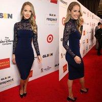 Wholesale High Neck Red carpet gown Olivia Jordan Vintage Blue Sheer Long Sleeve Dress Glsen Respect Awards Knee Length Celebrity Evening Gowns