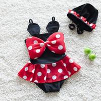 Wholesale 2016 New Style hot sell conjoined Children s swimwear girls swimwear girls swimsuit with swimming cap