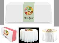 Wholesale DIY logo table cloth print photos words logo on satin fabric pearl satin table using custom wedding event decor