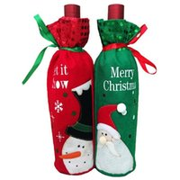 Wholesale Newly stylep Frosty the snowman and Santa Claus Christmas gift wrapped for champagne bottles and red wine bottles