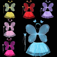 Wholesale Angel Butterfly Cosplay Costumes Fairy Kid Girls Skirt Princess Tutu Skirt with Single Butterfly Wing Headband Wing Magic Wand set