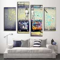 Wholesale Hot Sell Set Banksy Art Life Is Short Chill The Duck Out classic abstract painting printed wall pictures for living room F
