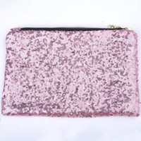 Wholesale Brand Designer Sequins Luxury Cosmetic Bags Organizer Handbag Glitter Bling Sequins Women Clutch Comestic Makeup Bag