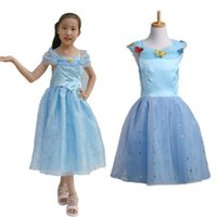 baby blue movies - party girls dress Baby Girls Princess Movies Cinderella Costume vestidos children one piece dresses girls clothing butterfly print blue tops