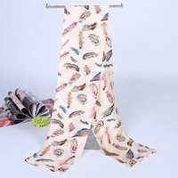 Wholesale Simulated Satin silk fashion Scarf Women Color Feather Print Scarf Brand Ladies Scarves Spring Summer Shawls and Scarves