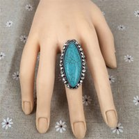 blue stone ring - 2016New Fashion Bohemian blue turquoise ring oval natural stone big rings for women zinc alloy aneis vintage bijoux women bagues HJ9434