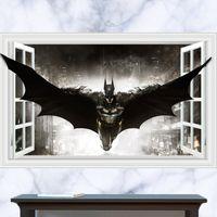 art dark knight - 3D Windows Generic Dark Knight Batman Justice League Wall Decal Decor Sticker kindergarten living room vinyl Inspiration art