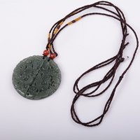 ancient chinese necklaces - natural hand carved jade dragon and phoenix couple jade pendant necklace Ancient Chinese jade hand fine carving