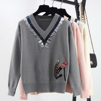 apricot computers - Pink Apricot Gray Boat Man Embroidery V Collar Sequins Long Sleeves Autumn Women s Sweaters Celebrity Women s Pullovers