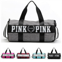 Duffel Bags travel bag handbag - Fashion Women Handbags Love VS Pink Large Capacity Travel Duffle Striped Waterproof Beach Bag Shoulder Bag