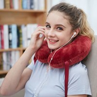 airplane hair - Luxurious Natural Latex Foam U Shaped Travel Neck Nap Pillow for Traveler Airplane Train Car Home Use Crystal Fine Hair Cover