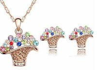 best gift baskets - Fashion jewelry set necklace crystal flower Basket pendant earring for women fashion jewelry set party prom best choice