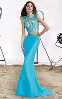 aqua marine crystal - 2016 Two Pieces Mermaid Homecoming Dresses Crew Sweep Train Aqua Marine Backless Capped Sleeveless Beaded Crystal Applique Evening Gowns