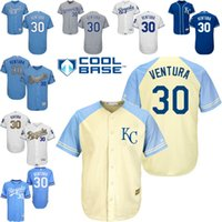 programa amarillo al por mayor-Blanco gris azul amarillo Yordano Ventura Authentic Jersey, # 30 de los hombres Kansas City Royals Gold Program Campeones de la Serie Mundial 2015 FlexBase
