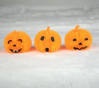 Wholesale Halloween toys Baby kids pumkin rubber Fuzzy Ball Lovely expression LED lights Yoyo rebound ball children toys gifts kindergarten