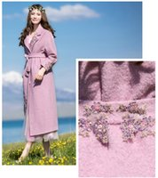 Wholesale 2016 New beautiful and elegant pink purple flower women s long outerwear long coats with high fashion