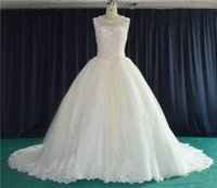 Wholesale 2016 New Elegant Flower Dress Embroidery Lace Sleeveless Low Back Long Tail Real Picture Latest Bridal Wedding Gowns