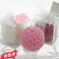 Wholesale Rose Flower Ball Candle Muilt Color candle randomly Wedding Favor Wedding Supplies Decoration cake Gift DHL