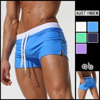 Wholesale High Quality Trunks Mens Sexy Swimwear Swimsuits Low Adjust Waist Swim Boxer Shorts Swimming Surf Board Shorts Sportswear