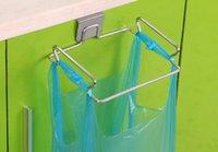 bag hanger stand - Hot new gadgets stainless steel door hook garbage bags hanger holder Cupboard Door Back Style Stand Support storage rack