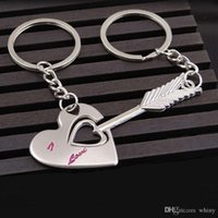 Wholesale 1 Pair Cute Heart Keychains Cupid Arrow Couple Key Chains Key Ring Valentine s Lovers Gift