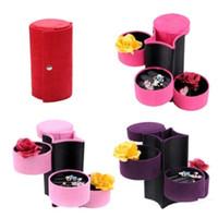 Wholesale 1PCS Fashion Gracious Velvet Jewelry Ring Box Storage Chic Decorative Organizer Case Color