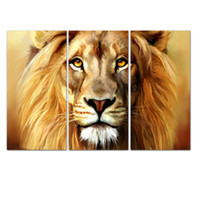 animal eyes pictures - LK3241 Panel Modern Lion Head With Golden Eyes Oil Painting On Canvas Wall Art The Picture Print On Canvas For Home Resturant Kitchen Hote