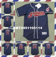 belle men - Custom OMAR VIZQUEL MANNY RAMIREZ ALBERT BELLE Baseball jersey THOME KENNY LOFTON SANDY ALOMAR jersey Navy Mens Stitched jerseys