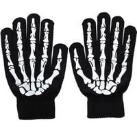 acrylic knit gloves - Halloween Night Luminous Skull Skeleton Gloves Skull gloves Warm Knitted Winter Gloves For Men Women