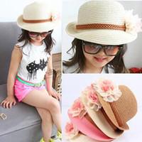 Precio de Sombrero de paja del sol-4 sombreros de la flor del bebé de los colores Sombrero de Fedora de la paja de los cabritos Sombrero de Sun de las muchachas sombrero del verano niños